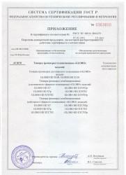 Приложение к сертификату соответствия GLOBO - HD X100