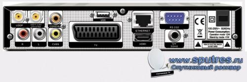 задняя панель спутникового ресивера ORTON HD X403p