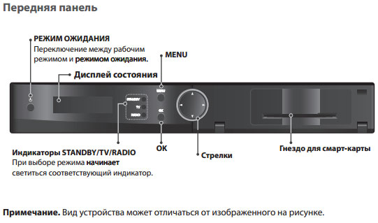Передняя панель терминала Humax VAHD 3100 S