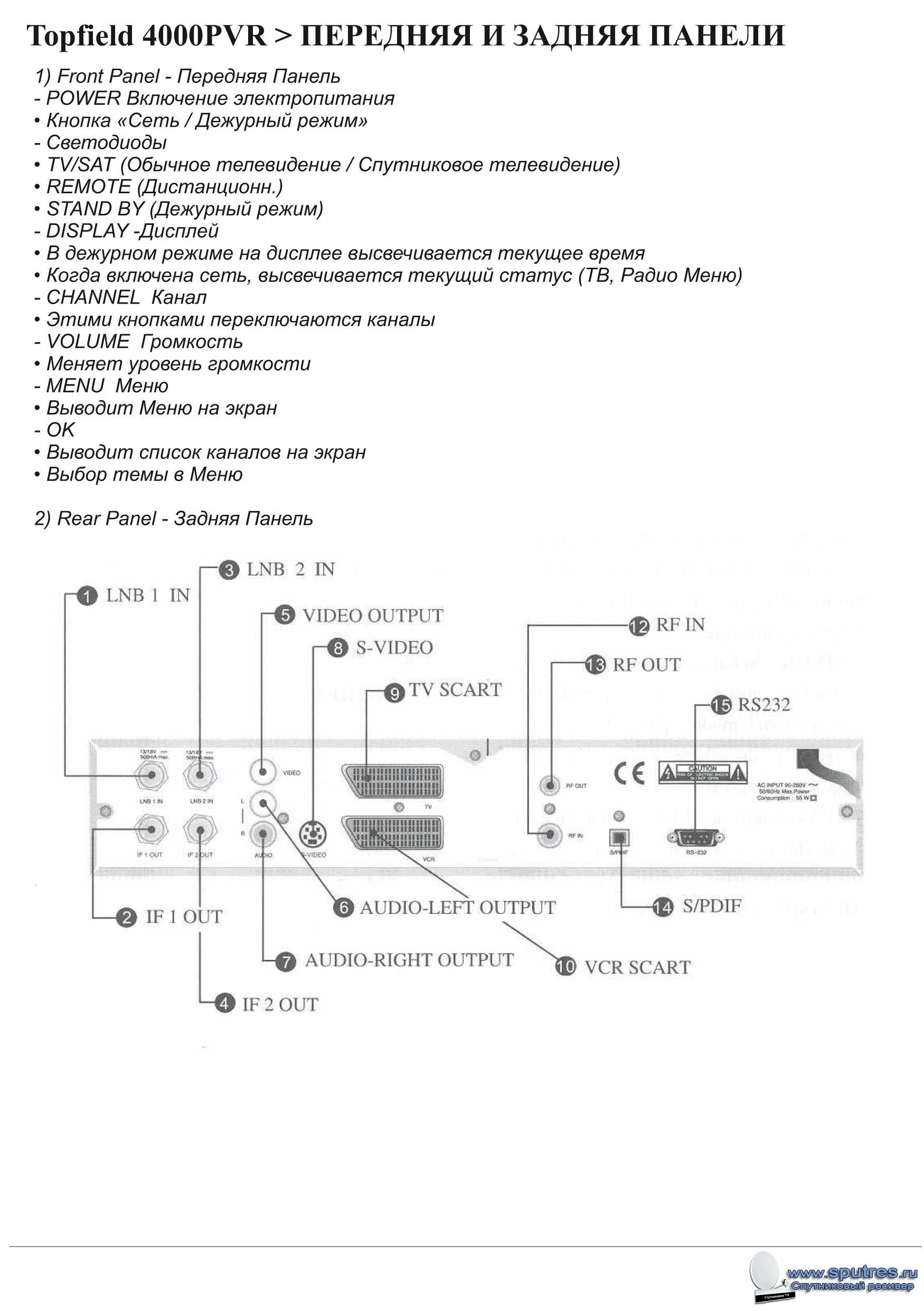 Инструкцию по эксплуатации ресивера