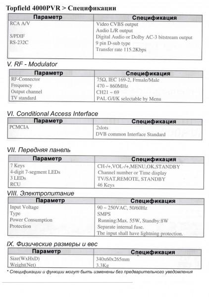 ресивер Topfield TF 4000 PVR инструкция по эксплуатации - стр.65