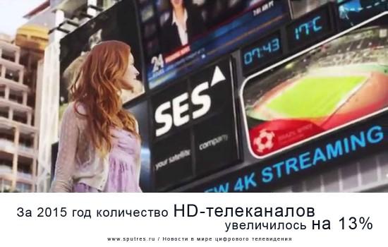 За 2015 год количество HD-телеканалов увеличилось на 13%