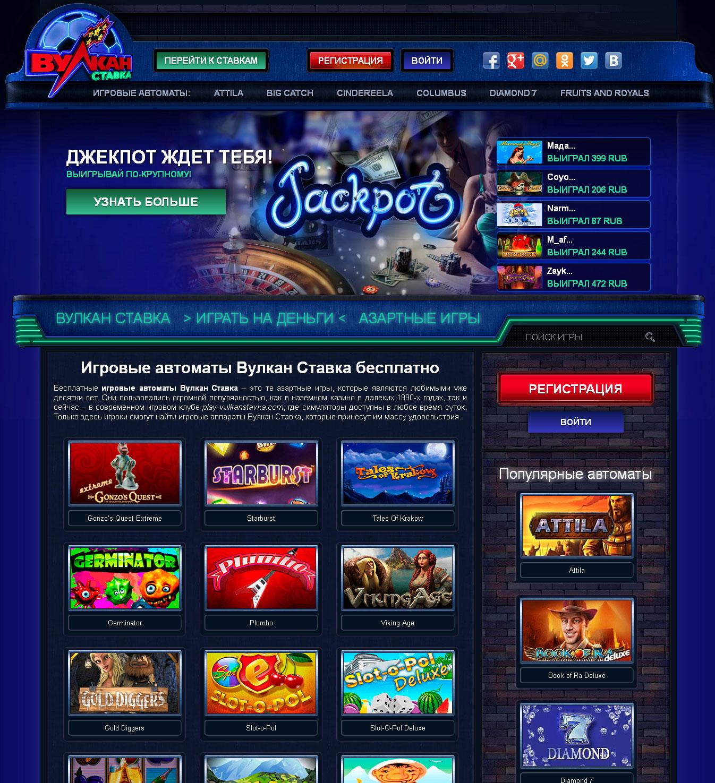 Игровые автоматы Вулкан Ставка бесплатно