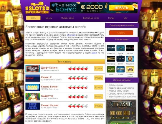Самые современные игровые автоматы на портале slotsinformation.com в интернете