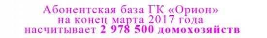 Абонентская база ГК «Орион» на конец марта 2017 года насчитывает 2 978 500 домохозяйств